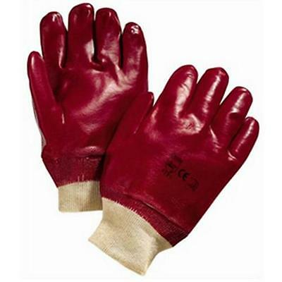 Heavy Duty Gloves Am-Tech PVC Red Non Slip Knitted Wrist Bands Builder