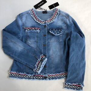 Sidste Denim Et Jean Bebe Detail Blå 159 Nwt Rhinestones Jacket Perler Små 5x8zOOn