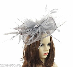 Image is loading SIlver-Grey-Fascinator-Hat-for-Ascot-Weddings-Formal- 83068efae82