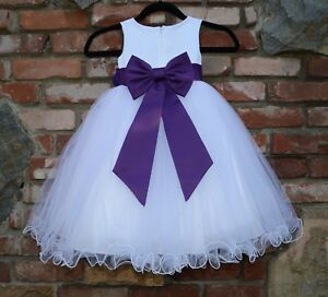 Image is loading Satin-White-Tulle-Flower-Girl-Dress-Wedding-Pageant- 6e688886c876