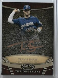 2019 Topps Tier One Baseball Travis Shaw Tier One Talent Copper Autograph 08/25
