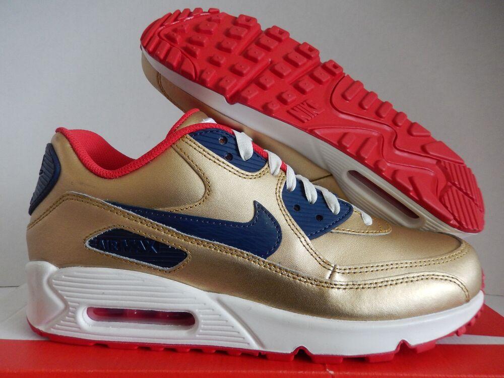 NIKE AIR MAX 90 ID GOLD-NAVY BLUE-blanc-RED SZ 8.5 [931902-994]