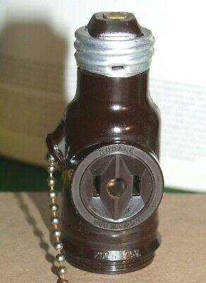 Vintage Bakelite Pull Chain Medium Base Dual Bulb Socket Lamp//Light~Two Piece