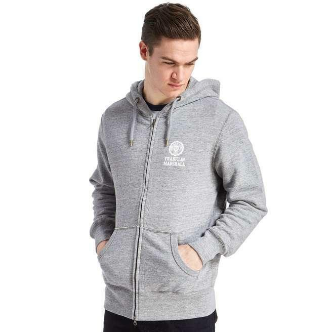 FRANKLIN AND MARSHALL FULL ZIP HOODY SMALL CREST LOGO XL LIGHT grau