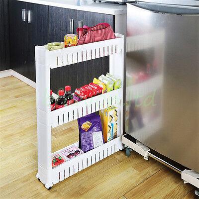 Slim Slide Out Kitchen Trolley Rack Holder Storage Shelf Organiser on Wheels