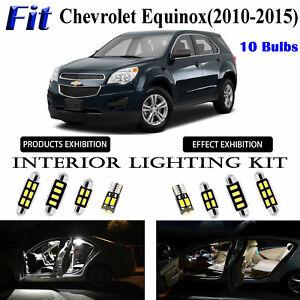 10 Bulbs Super White LED Interior Light Kit For Chevrolet Equinox 2010-2015 Lamp