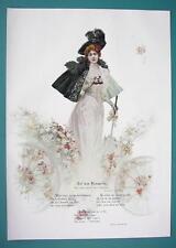 YOUNG MAIDEN Fine Dress at Horse Races Binoculars - VICTORIAN Era Print COLOR