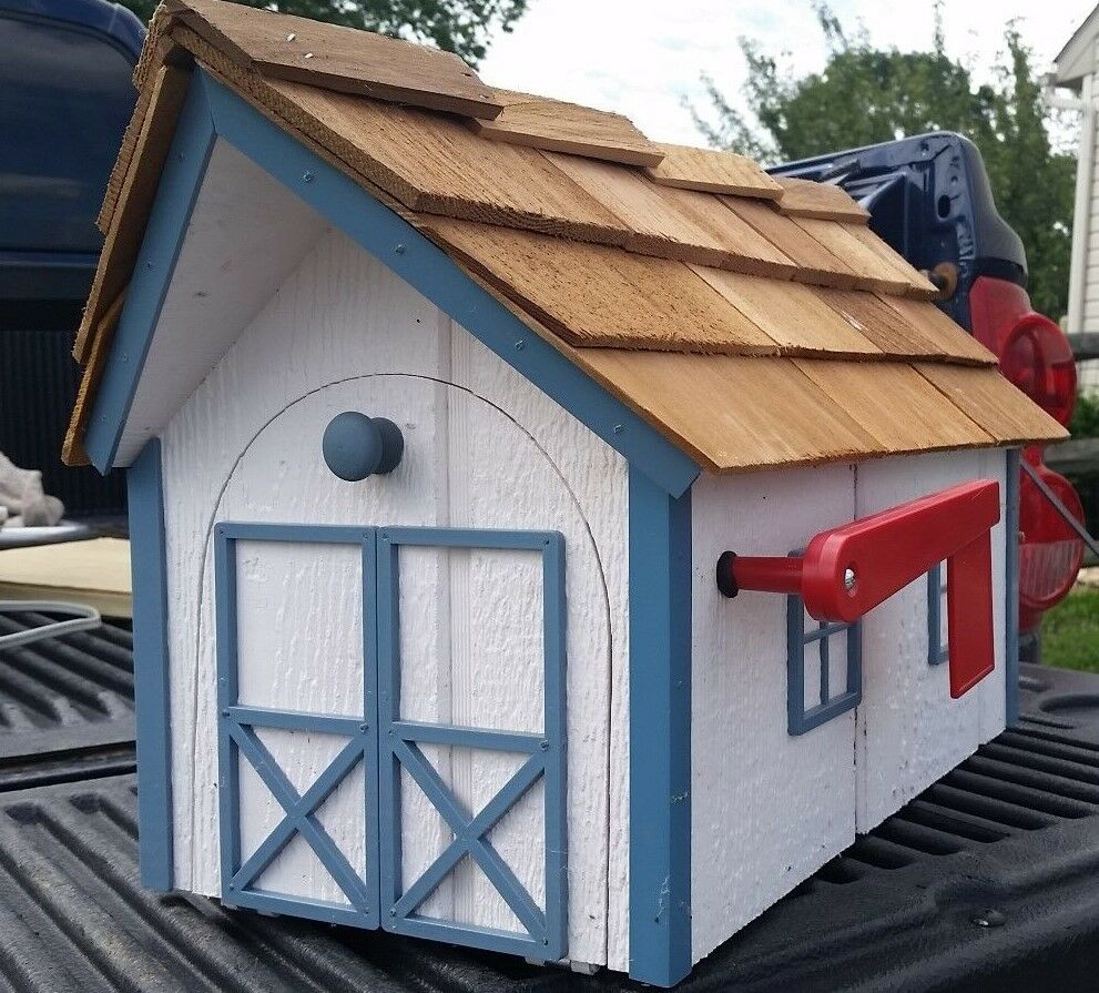 Amish Crated Barn Style Mailbox (Weiß with Blau Trim) - Lancaster Cnty Made