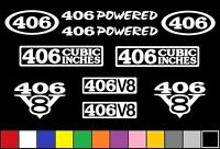 406 Ci V8 Powered 10 Decal Set Engine Stickers Emblems Bored 400 Sbc Decals