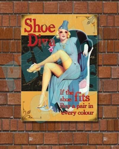 Vintage Retro IF THE SHOE FITS FUNNY METAL SIGN // PLAQUE SHOE DIVA