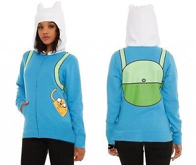 Adventure Time Finn Costume Jake In Pocket Licensed Juniors Zip Up Hoodie S-2XL