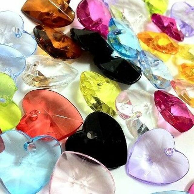 30 pieces 17x18mm Acrylic Heart Charm Pendants - Mixed Colour - A0187