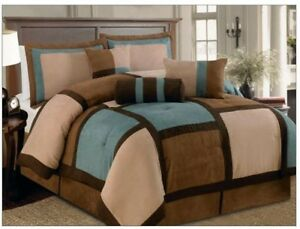 7-pcs-Aqua-Brown-amp-Beige-Micro-Suede-Patchwork-Comforter-Bedding-Set-King-Queen