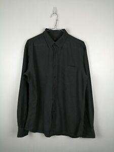 VINTAGE-Da-Uomo-Uniqlo-Camicia-Taglia-M-Grigio-Manica-Lunga-Bottoni-100-Cotone-Lavoro-Top