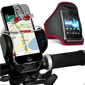 Quality-Bike-Bicycle-Holder-Sports-Armband-Case-Cover-In-Ear-Headphones-Red