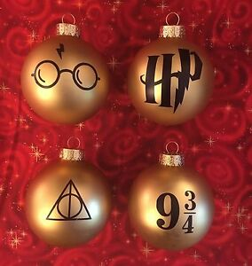 image is loading 4 harry potter inspired glass ball christmas ornaments - Harry Potter Christmas Decorations