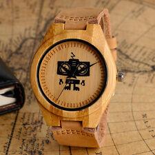 Nature Wood Bamboo Quartz Wrist Watch Women Men Wooden  Robot Dial Leather Band