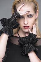 Devil Fashion Black Lace Cuffs Gothic Victorian Elegant Ruffle Fingerless Gloves