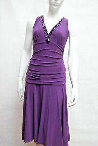 STAR-by-JULIEN-MACDONALD-PURPLE-RUCHED-BEADED-NECKLINE-MIDI-DRESS-Size-14