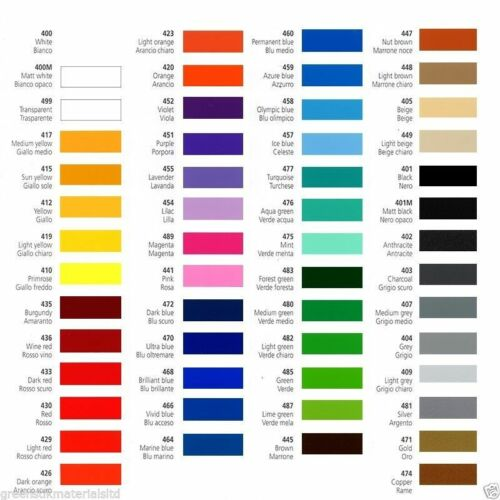 54 Colours Prime Series Coloured Self Adhesive Vinyl Silhouette Portrait