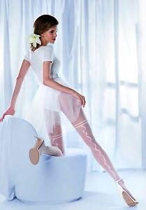 Elegante-Hochzeit-Braut-Feinstrumpfhose-Weiss-mit-Muster-Brautmode
