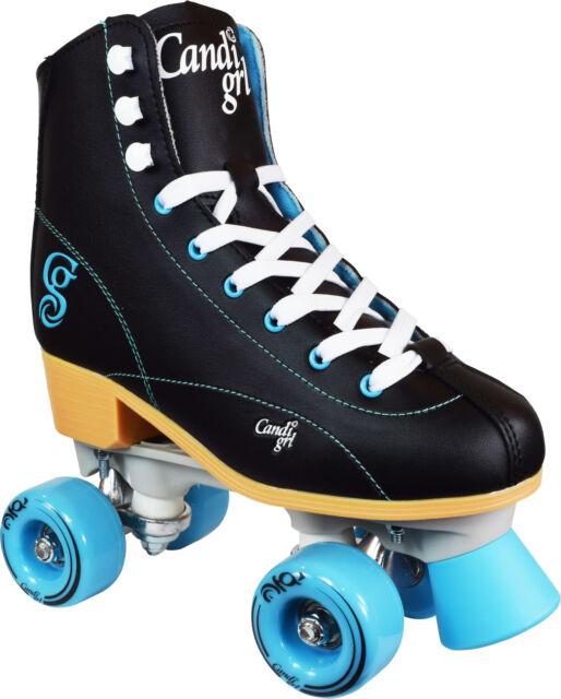 Indoor Quad Roller Skates Black /& Teal Candi Girls Sabina High Top Outdoor