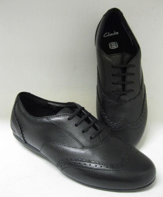 Clarks Girls Dance Honey Jnr Black Leather Lace Up School Shoes Uk