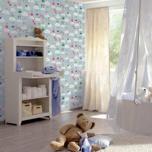 Enfant XVIII Hello Nuages Papier Peint Bleu RASCH 249439