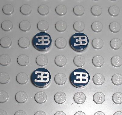 4x Fliese 1x1 rund mit Bugatti Logo LEGO Technic Decal Tile 42083 Chiron