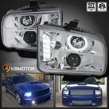 Fits 2005 2009 Ford Mustang Led Strip Halo Clear Projector Headlights Lamps Pair Fits Mustang