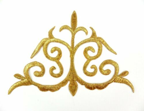 "Embroidered Applique Gold Metallic Iron On Designer Costume Patch 6/"" GB786"