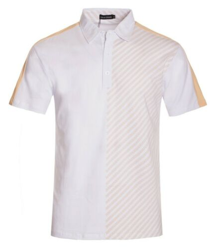 New Mens Short Sleeve Polo Shirt Slim Fit Stretch White Gold Egyptian Print