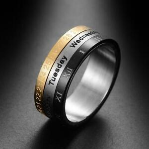 e380257f9617a Details about Time Rotating Titanium Steel Arabic Numerals Calendar Clock  Spinner Ring Fashion