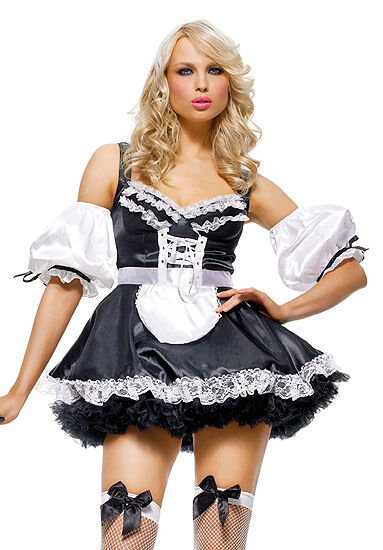 Black u0026 White French Maid Costume Leg Avenue 8048 Adult 3 Piece Size  sc 1 st  eBay & Leg Avenue Halloween Costume French Maid Outfit | eBay