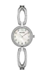 Bulova-Women-039-s-96L223-Quartz-Crystal-Accents-Silver-Tone-Bracelet-26mm-Watch