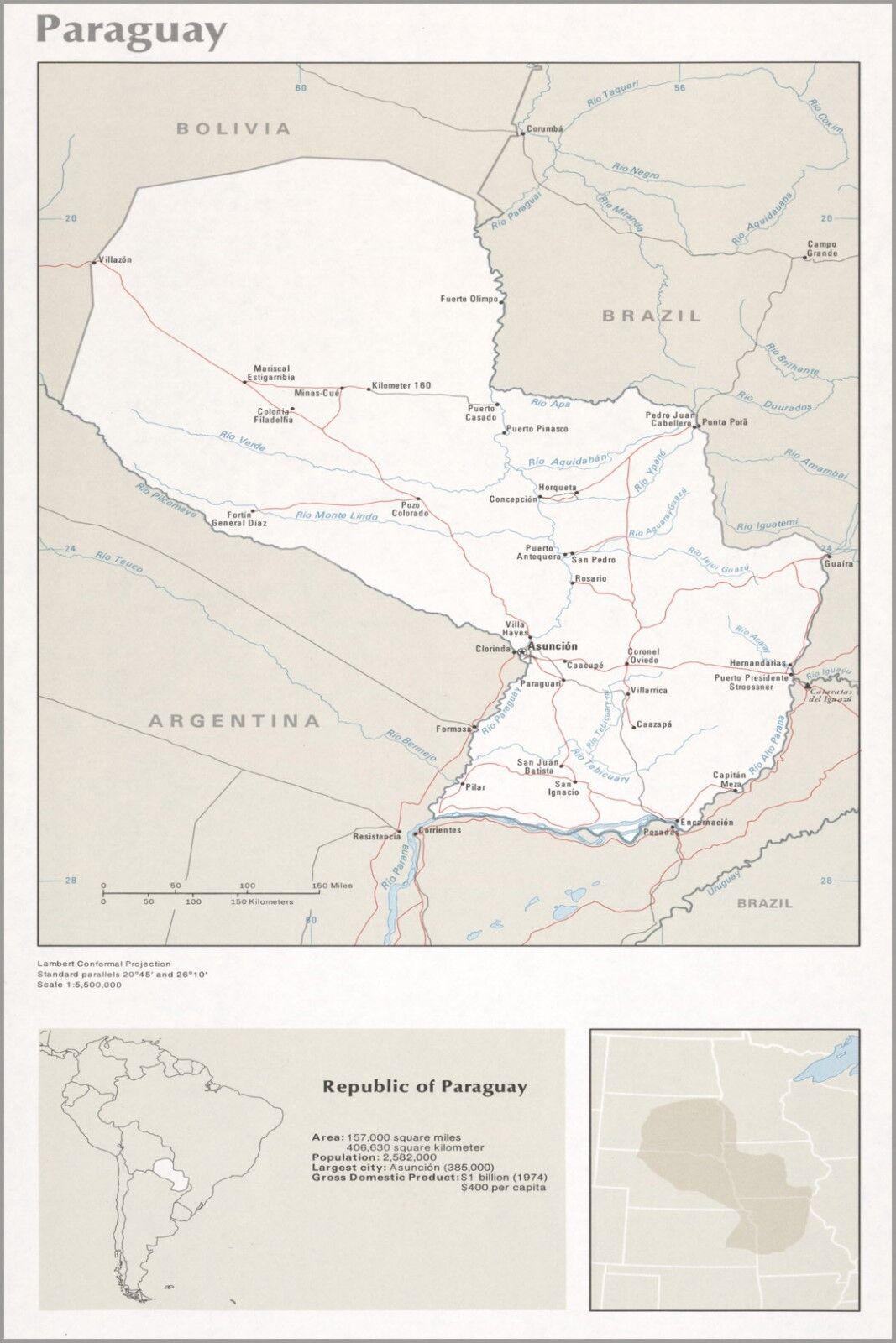 Póster, Muchos Tamaños; Cia. Mapa de Paraguay