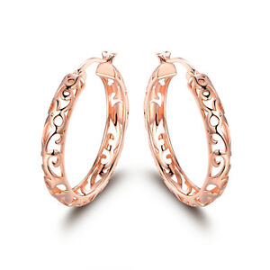 Rose Gold Plated Filigree Cutout Hoop Earrings