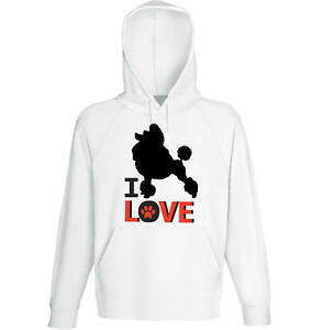 I Love New Cotton White Hoodie Diszipliniert Poodle 1