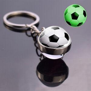 New Luminous Key Chain Football Key Pendant Glass Metal Globe
