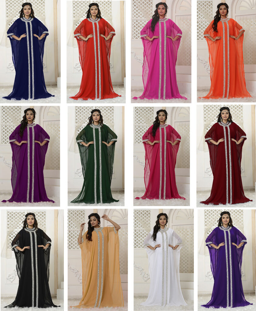 Women Dubai Kaftan Caftan Farasha Jalabiya Abaya Long Maxi Dress Suit Top - N23