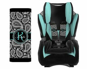 personalized baby toddler car seat strap covers black paisley with teal ebay. Black Bedroom Furniture Sets. Home Design Ideas