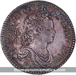 FRANCE-Louis-XV-1-2-ecu-vertugadin-1716-A