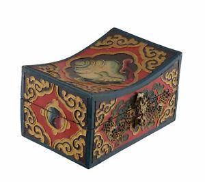 Scatola Cofanetto Cuscino Tibetano Vajra Buddista 15cm Chepu Conch Nepal 35