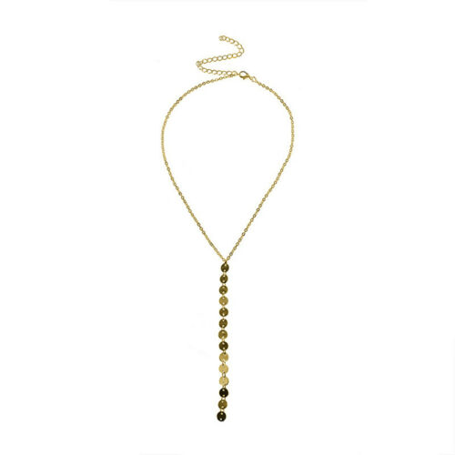 Simple Gold Silver Toned Sequins Long Tassel Choker Necklace Ladies Jewelry Z