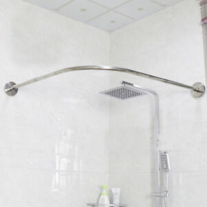 Image Is Loading Extendable Corner Shower Curtain Rod Pole 17 24inch