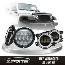 """7"""" 75W CREE LED Headlights DRL with Fog Light Red Halo Combo For 07-17 Jeep"""