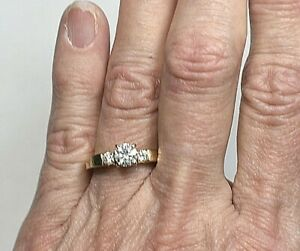 GIA $2500 .75ct D-E I2 Diamond 14K Gold Shane Co. Engagement Wedding Ring, Boxed