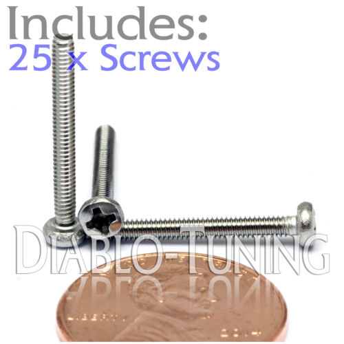 Qty 25 Stainless Steel Phillips Pan Head Machine Screws DIN 7985 A M2 x 18mm