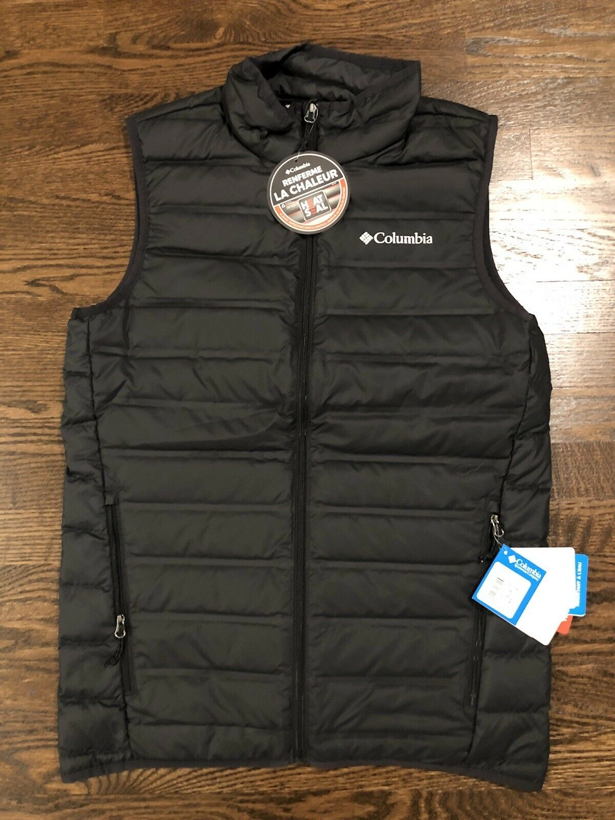 Columbia Men's Lake 22 Down Vest Lightweight Black Size Small - Great Hiking New