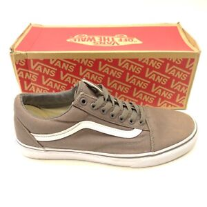 55bc48a6010890 Vans Mens Old Skool Gray   White Canvas Lace Up Sneaker Skate Shoes ...